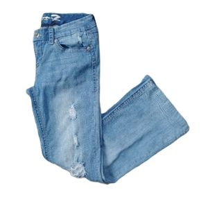 Seven7 Distressed Blue Jeans, Boot Cut, 31